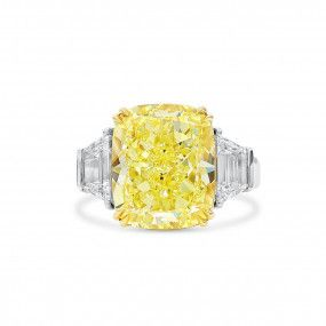 Fancy Yellow Diamond Ring, 10.54 Ct. (11.69 Ct. TW), Cushion shape, GIA Certified, 2215213941