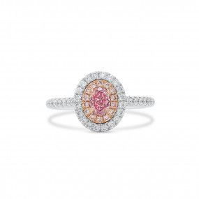 Fancy Light Purplish Pink Diamond Ring, 0.29 Ct. (0.70 Ct. TW), Oval shape, GIA Certified, 2327653738