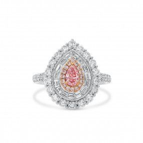 Fancy Light Orangy Pink Diamond Ring, 0.26 Ct. (1.68 Ct. TW), Pear shape, GIA Certified, 7341048764