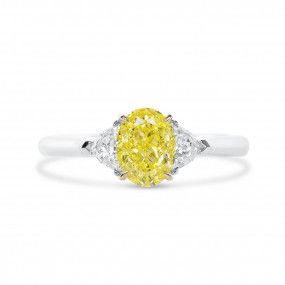 Fancy Vivid Yellow Diamond Ring, 1.27 Ct. (1.60 Ct. TW), Oval shape, GIA Certified, 2317947079