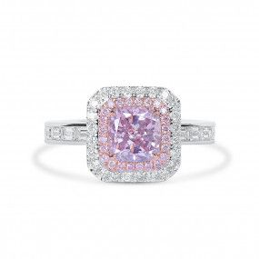 Fancy Purple Pink Diamond Ring, 1.12 Ct. (2.27 Ct. TW), Cushion shape, GIA Certified, 2205977571