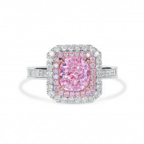 Fancy Light Pink Diamond Ring, 2.02 Ct. (3.28 Ct. TW), Cushion shape, GIA Certified, 6204299274
