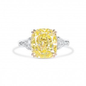 Fancy Intense Yellow Diamond Ring, 7.04 Ct. (7.72 Ct. TW), Cushion shape, GIA Certified, 2205695656