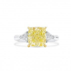 Fancy Light Yellow Diamond Ring, 3.50 Ct. (3.91 Ct. TW), Cushion shape, GIA Certified, 2181637775