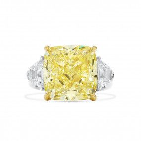 Fancy Yellow Diamond Ring, 12.04 Ct. (13.17 Ct. TW), Cushion shape, GIA Certified, 1216346116