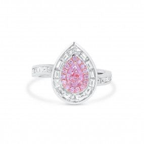 Very Light Pink Diamond Ring, 0.50 Ct. (1.76 Ct. TW), Pear shape, GIA Certified, 7366582778