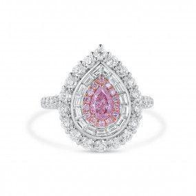 Light Pink Diamond Ring, 0.39 Ct. (2.18 Ct. TW), Pear shape, GIA Certified, 1358664128