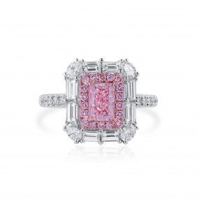 Very Light Pink Diamond Ring, 0.88 Ct. (2.25 Ct. TW), Radiant shape, GIA Certified, 6352187000