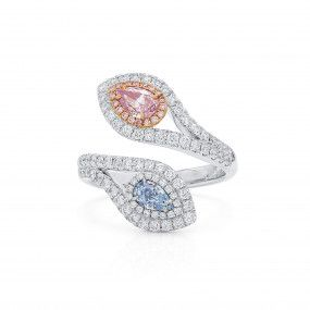 Very Light Pink Diamond Ring, 0.71 Ct. (1.51 Ct. TW), Pear shape, GIA Certified, JCRF05512906