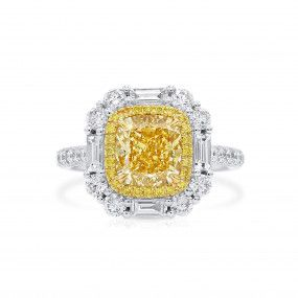 Fancy Brownish Yellow Diamond Ring, 2.22 Ct. (3.43 Ct. TW), Cushion shape, GIA Certified, 6213441009