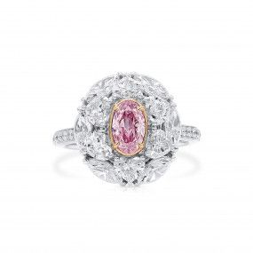 Very Light Pink Diamond Ring, 0.51 Ct. (2.97 Ct. TW), Oval shape, GIA Certified, 7383006830