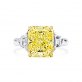Fancy Yellow Diamond Ring, 5.02 Ct. (5.63 Ct. TW), Radiant shape, GIA Certified, 5211729398