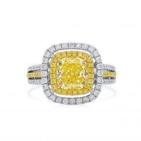 Fancy Yellow Diamond Ring, 1.94 Ct. (2.74 Ct. TW), Radiant shape, GIA Certified, 5212646061
