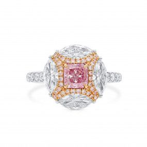 Very Light Pink Diamond Ring, 0.63 Ct. (2.31 Ct. TW), Cushion shape, GIA Certified, 6291140726