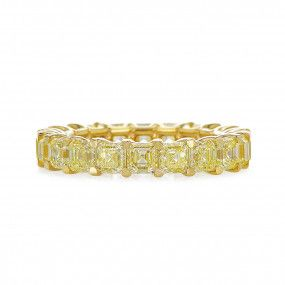Fancy Intense Yellow Diamond Ring, 6.07 Carat, Asscher shape