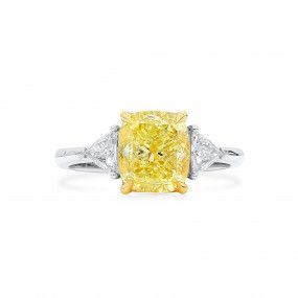 Fancy Yellow Diamond Ring, 3.05 Ct. (3.46 Ct. TW), Cushion shape, GIA Certified, 2211526190