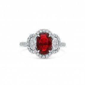 Natural Red Ruby Ring, 1.81 Ct. (2.73 Ct. TW), GIA Certified, 1186813982, Unheated