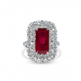 Natural Red Ruby Ring, 5.03 Ct. (8.14 Ct. TW), GRS Certified, GRS2010-050133T, Unheated