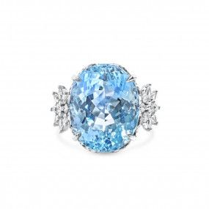 Natural Light Blue Aquamarine Ring, 19.54 Ct. (21.84 Ct. TW), IGL Certified, J88642285IL, Unheated