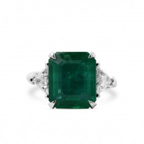 Natural Green Emerald Ring, 6.04 Carat, GRS Certified, GRS2018-078135