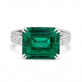 Natural Vivid Green Emerald Ring, 6.34 Ct. (7.29 Ct. TW), GRS Certified, GRS2018-088475