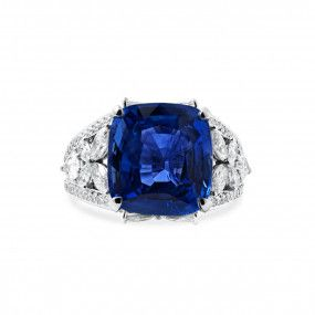 Natural Blue Sapphire Ring, 10.01 Ct. (13.43 Ct. TW), GRS Certified, GRS2015-081351, Unheated