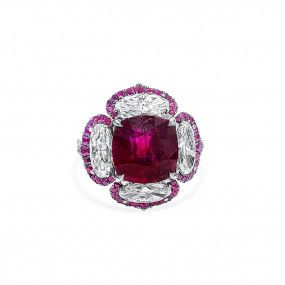 Natural Red Ruby Ring, 5.24 Ct. (7.84 Ct. TW), Unheated