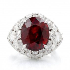 Natural Vivid Red Mozambique Ruby Ring, 8.08 Ct. (11.69 Ct. TW), Unheated