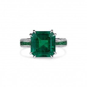 Natural Vivid Green Emerald Ring, 6.11 Ct. (7.64 Ct. TW), GRS Certified, 2018-108355