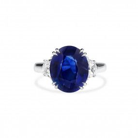 Natural Vivid Blue Sapphire Ring, 4.98 Ct. (5.56 Ct. TW), Unheated