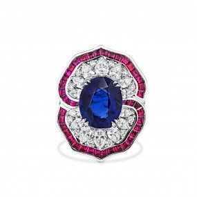 Natural Vivid Blue Sapphire Ring, 4.98 Ct. (10.01 Ct. TW), Unheated
