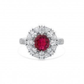 Natural Vivid Red Ruby Ring, 1.25 Ct. (2.70 Ct. TW), Unheated