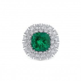 Natural Vivid Green Emerald Ring, 8.23 Ct. (14.30 Ct. TW), GRS Certified, GRS2019-069269, Unheated