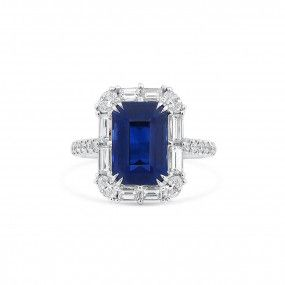 Natural Vivid Blue Sapphire Ring, 5.66 Ct. (7.07 Ct. TW), GRS Certified, GRS2019-073144, Unheated