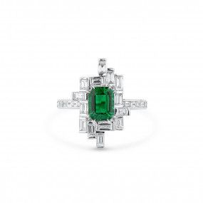 Natural Vivid Green Emerald Ring, 1.33 Ct. (2.41 Ct. TW), GRS Certified, GRS2020-028222