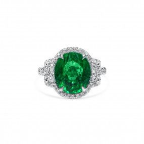 Natural Green Madagascar Emerald Ring, 4.23 Ct. (5.36 Ct. TW), GIA Certified, 6203932448