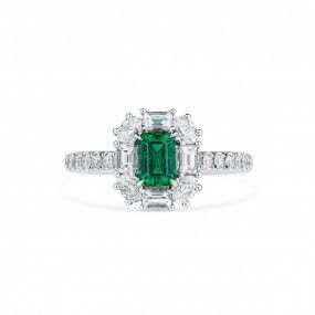 Natural Green Emerald Ring, 0.51 Ct. (1.36 Ct. TW)
