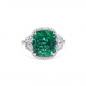 Natural Green Zambia Emerald Ring, 5.75 Ct. (6.80 Ct. TW), GRS Certified, GRS2020-018112