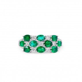 Natural Green Emerald Ring, 1.45 Ct. (1.88 Ct. TW)