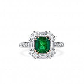 Natural Vivid Green Emerald Ring, 1.62 Ct. (2.95 Ct. TW), GRC Certified, G2007170033