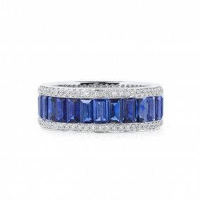 Natural Blue Sapphire Ring, 4.80 Ct. (5.25 Ct. TW), Unheated