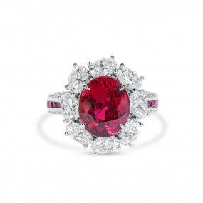 Natural Vivid Red Ruby Ring, 5.02 Ct. (9.49 Ct. TW), GRS Certified, GRS2020-021003, Unheated
