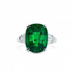 Natural Vivid Green Emerald Ring, 9.62 Ct. (10.66 Ct. TW), GRS Certified, GRS2020-098427
