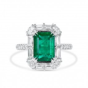 Natural Vivid Green Emerald Ring, 2.52 Ct. (3.93 Ct. TW), GRS Certified, GRS2020-038650
