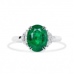 Natural Vivid Green Emerald Ring, 3.24 Ct. (3.75 Ct. TW), GRS Certified, GRS2020-038647