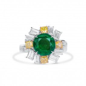 Natural Vivid Green Emerald Ring, 2.61 Ct. (4.82 Ct. TW), GRS Certified, GRS2020-038651