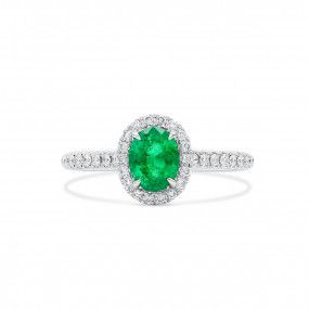 Natural Green Emerald Ring, 0.83 Ct. (1.07 Ct. TW)