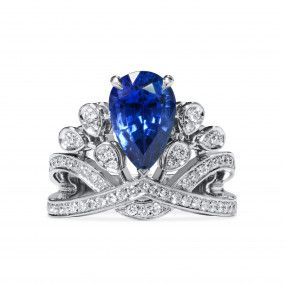 Natural Blue Sapphire Ring, 4.04 Ct. (4.78 Ct. TW), Unheated