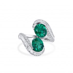 Natural Vivid Green Colombia Emerald Ring, 2.22 Ct. (3.47 Ct. TW), GRS Certified, JCRG05512045