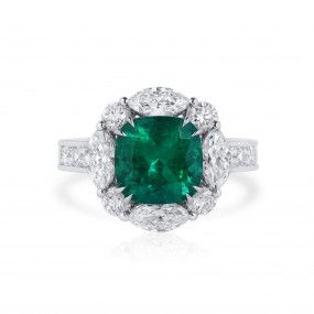 Natural Vivid Green Colombia Emerald Ring, 2.50 Ct. (4.77 Ct. TW), GRS Certified, GRS2020-128138
